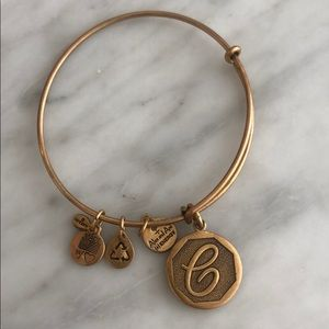 """C"" Alex and ani bracelet in gold"